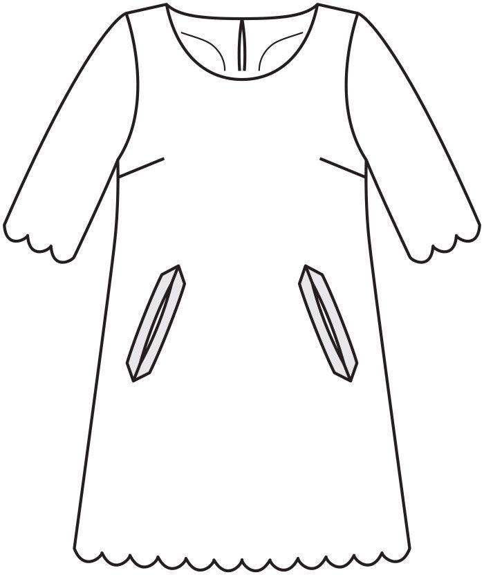 Платье а-силуэта с фестонами - выкройка № 120 В из журнала 12/2015 Burda – выкройки платьев на Burdastyle.ru