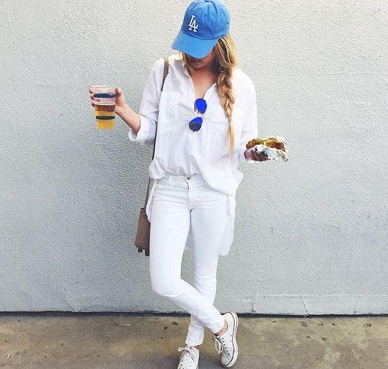 Urban Outfitters La Dodgers Hat, Topshop Button Down, Joe's Jeans Jeans, Converse Shoes