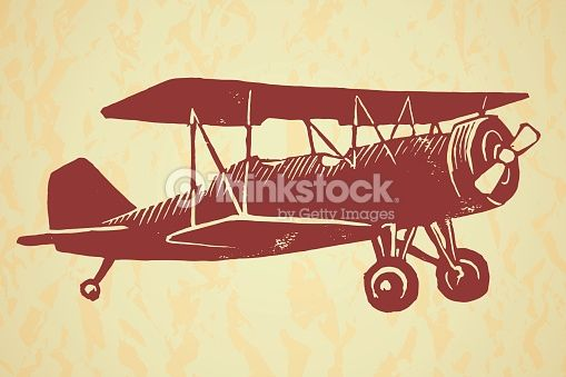 Vector Art : Vintage airplane on textured background