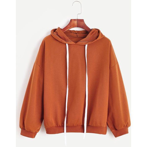 Drop Shoulder Drawstring Hooded Sweatshirt ($18) ❤ liked on Polyvore featuring tops, hoodies, khaki, hoodie pullover, brown hooded sweatshirt, hoodies pullover, brown tops and long sleeve tops