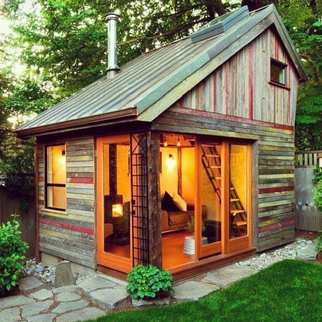 A bilevel shed gives guests more space to unwind. Image Source: Instagram user weldrealty