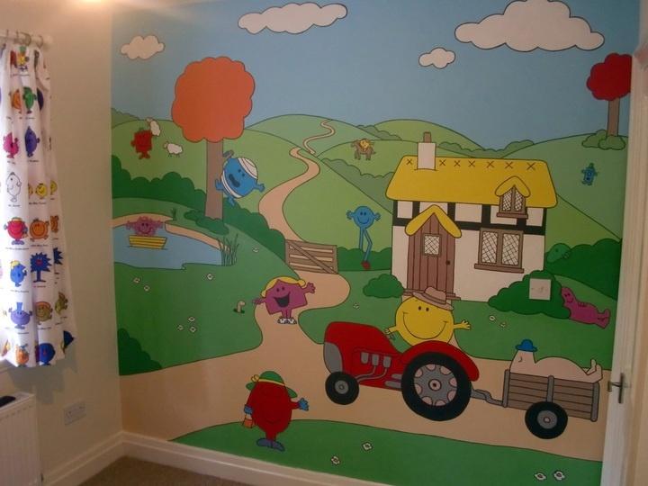 Mr Men Hand Painted Wall Mural