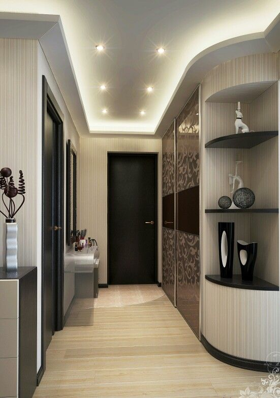 Black interior doors, lights