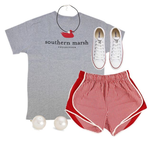 """Red southern marsh"" by cjstefan ❤ liked on Polyvore featuring Converse, Blue Nile and NLY Accessories"