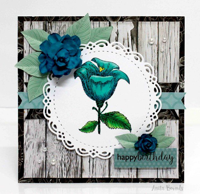 "Card: Happy Birthday - ""Kaisercraft DT"" - Grab a detailed acrylic stamp from Kaisercraft and color with markers for the look of an artistic masterpiece on a handmade card!"