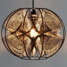 The WILSON is a round lampshade with powder coated steel frame, which can be used with a table lamp, floor lamp, or as a hanging pendant. It is hand-strung with lanyard in a variety of two-toned colors: one interior and one exterior.