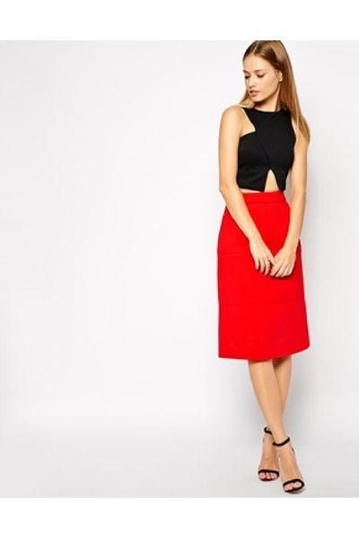 Asos A-line Skirt in Bonded Scuba - Red - The Fashion