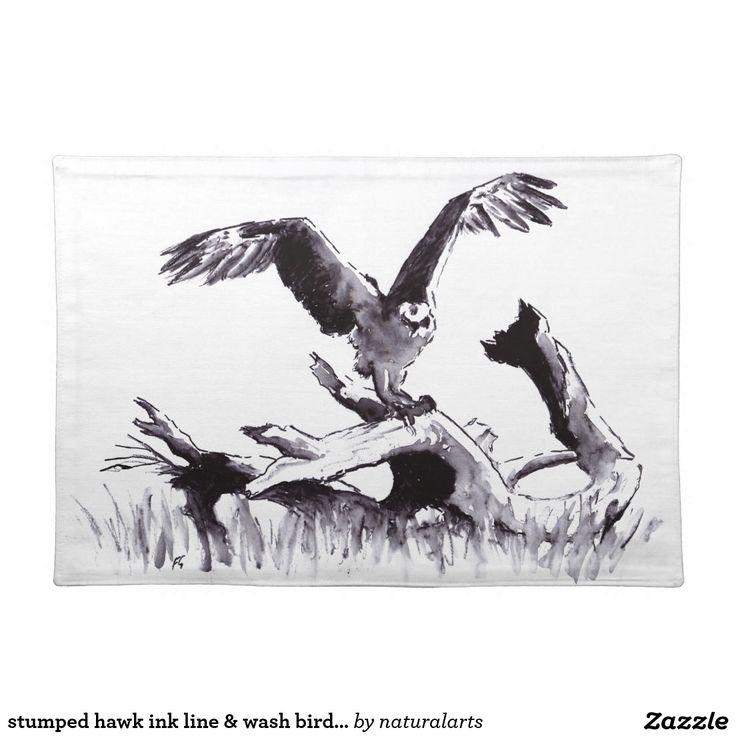 stumped hawk ink line & wash bird drawing cloth place mat