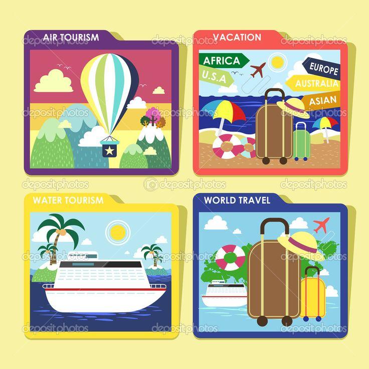 мир путешествий концепции значков, заданных в плоский дизайн - Векторная картинка: 49799415