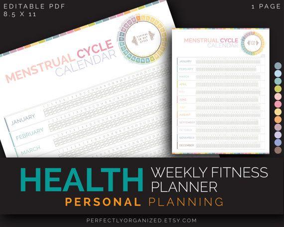 Menstrual Cycle Log Tracker Calendar, Female Reproductive ...