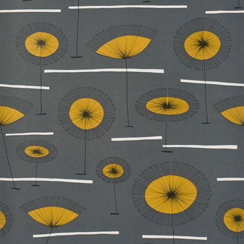 """Grå botten med vita linjer och blommor i svart och gult""""Grasslands"""""""