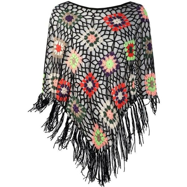 Boohoo Kerry Crochet Festival Poncho ($44) ❤ liked on Polyvore featuring crochet poncho, knit poncho, wrap poncho, style poncho and sequin poncho