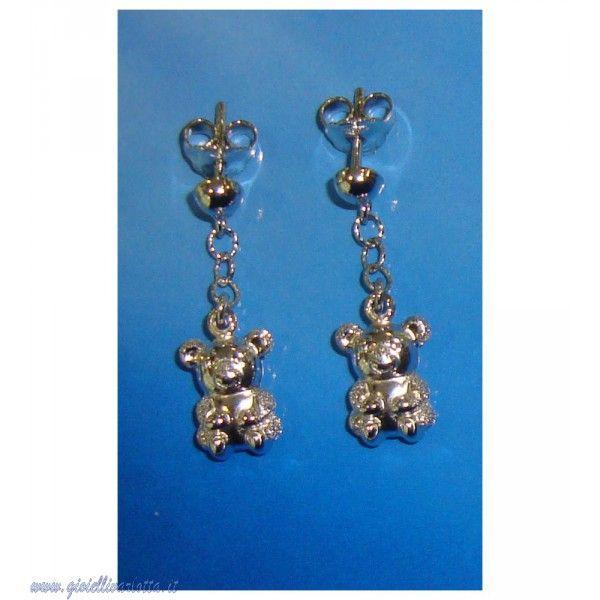 orecchini orsetti pendenti in oro bianco 18 Kt Gioielleria Shopping Online  http://www.gioiellivarlotta.it/product.php?id_product=1788