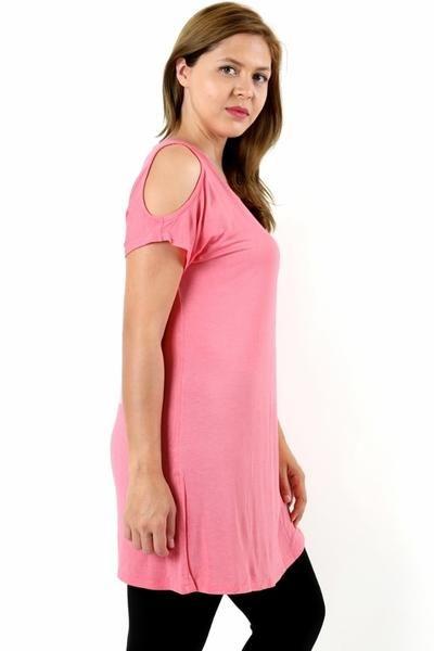 4982d78616146e Women s Pink Dress Cold Shoulder  1XL 2XL 3XL