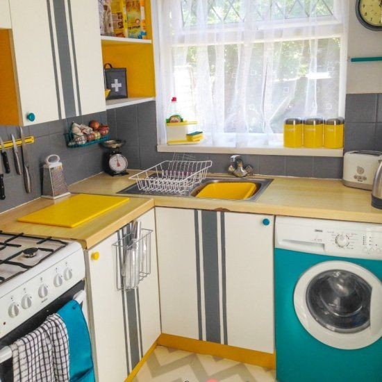 Funky Kitchen Flooring: I Gave My Small English Kitchen A Bright Makeover! I Even