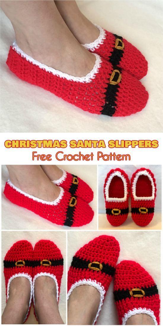 Quick Christmas Santa Slippers Free Crochet Pattern Crochet Away