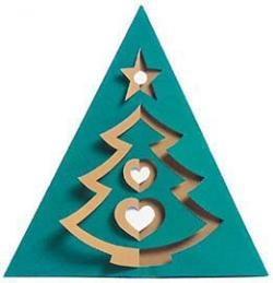 biglietto natalizio con alberello bicolore