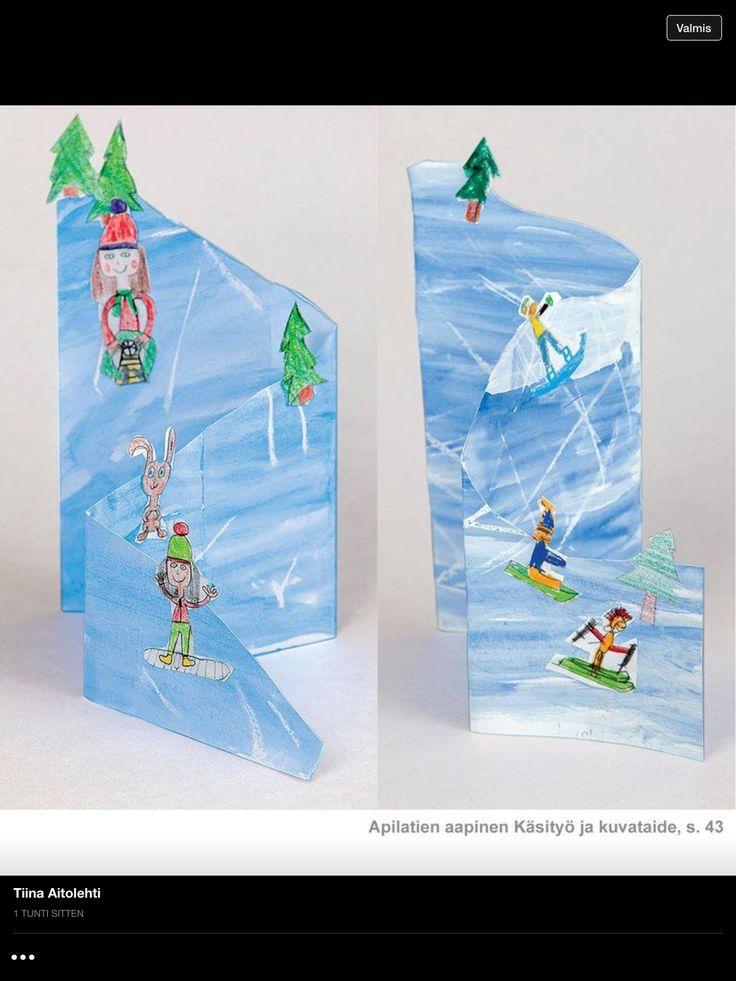 Je maakt een skihelling van dik tekenpapier. Dit kleur je in met ecoline. Vervolgens teken je er bomen en mensen op die skiën