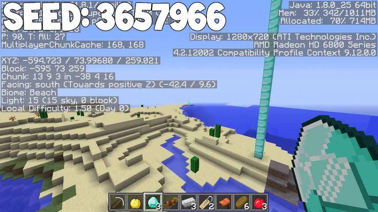 Minecraft Seeds - NPC Village at Spawn, 11 Diamonds, Dungeon, Mushroom Biome, Mineshaft and Desert Temple.