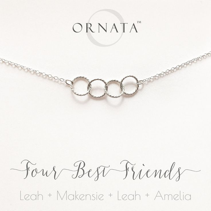 """""""Four Best Friends"""" Personalized Sterling Silver Necklace 