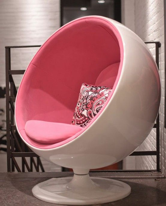 Retro round pink egg chair want for Cool stuff for bedroom