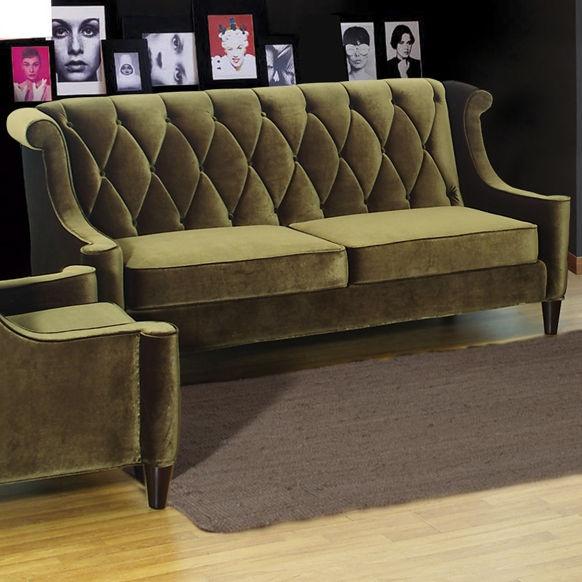 Barrister Velvet Sofa Also In Grey