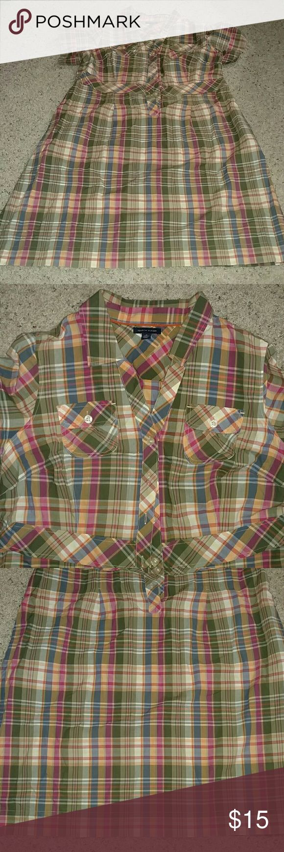 Tommy Hilfiger Khaki shirt dress Tommy Hilfiger khaki shorts dress with side pockets. Tommy Hilfiger Dresses