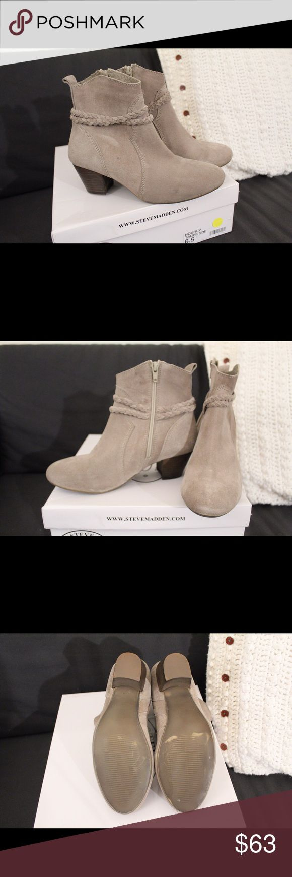 Size 6.5 Steve Madden suede booties New size 6.5 Steve Madden suede heeled booties. The small scratches at the soles came from trying the shoe at the store.  But guaranteed new! Purchased at $99. Steve Madden Shoes Ankle Boots & Booties