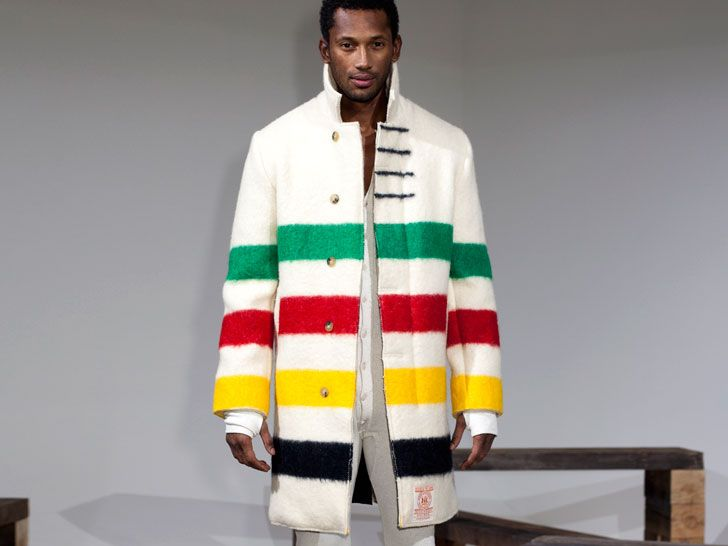 The colors of the Hudson Bay Company in a coat!