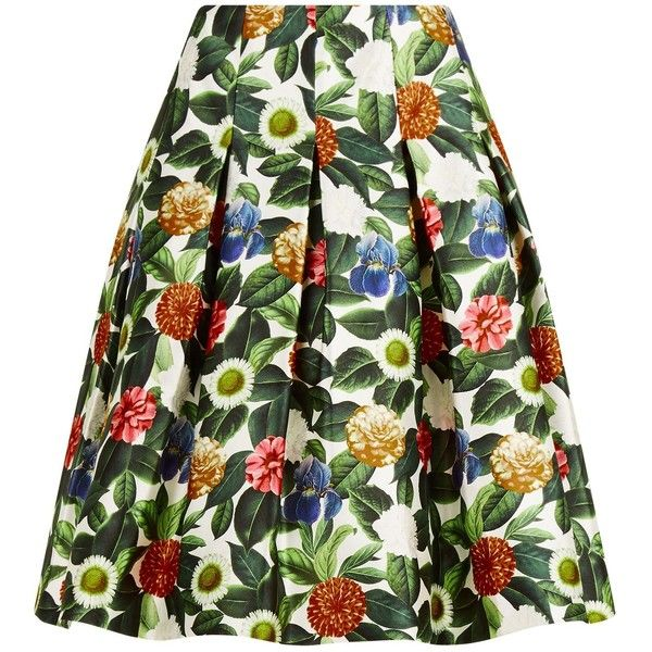Oscar de la Renta Floral Print Skirt found on Polyvore featuring skirts, floral print midi skirt, green skirt, mid-calf skirts, midi skirt and summer skirts