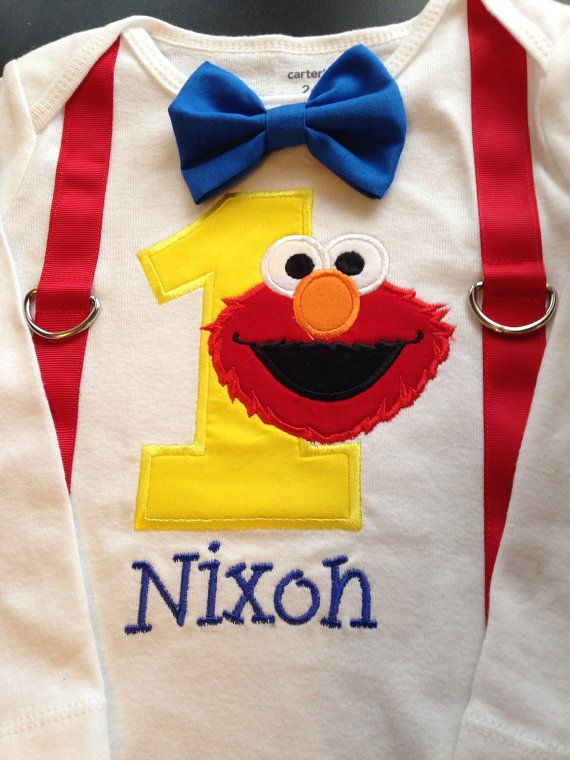 Boys sesame street elmo first burthday by LittleChickiesClips
