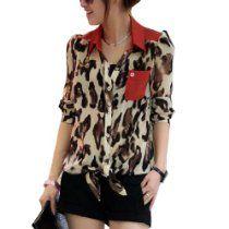 Allegra K Women Long Sleeve Leopard Prints Semi Sheer Chiffon Blouse XS