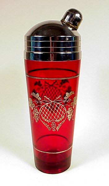 ❤ - Art Deco Silver Overlay Ruby Glass Cocktail Shaker