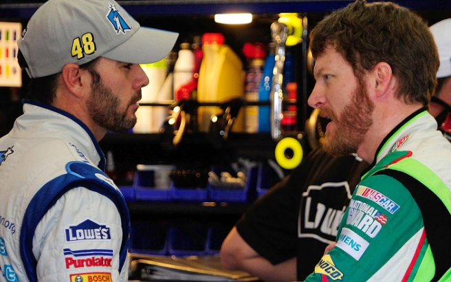 Team mates and garage mates Jimmie Johnson and Dale Earnhardt Jr <3
