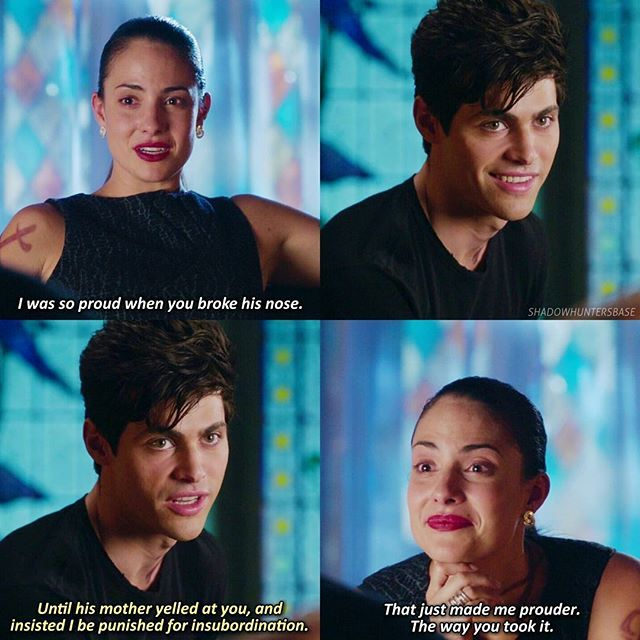 "#Shadowhunters 1x06 ""Of Men and Angels"" - Alec and  Maryse-and six episodes later her dissapointment makes me cry"