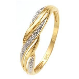 14karaat geelgouden ring met diamant