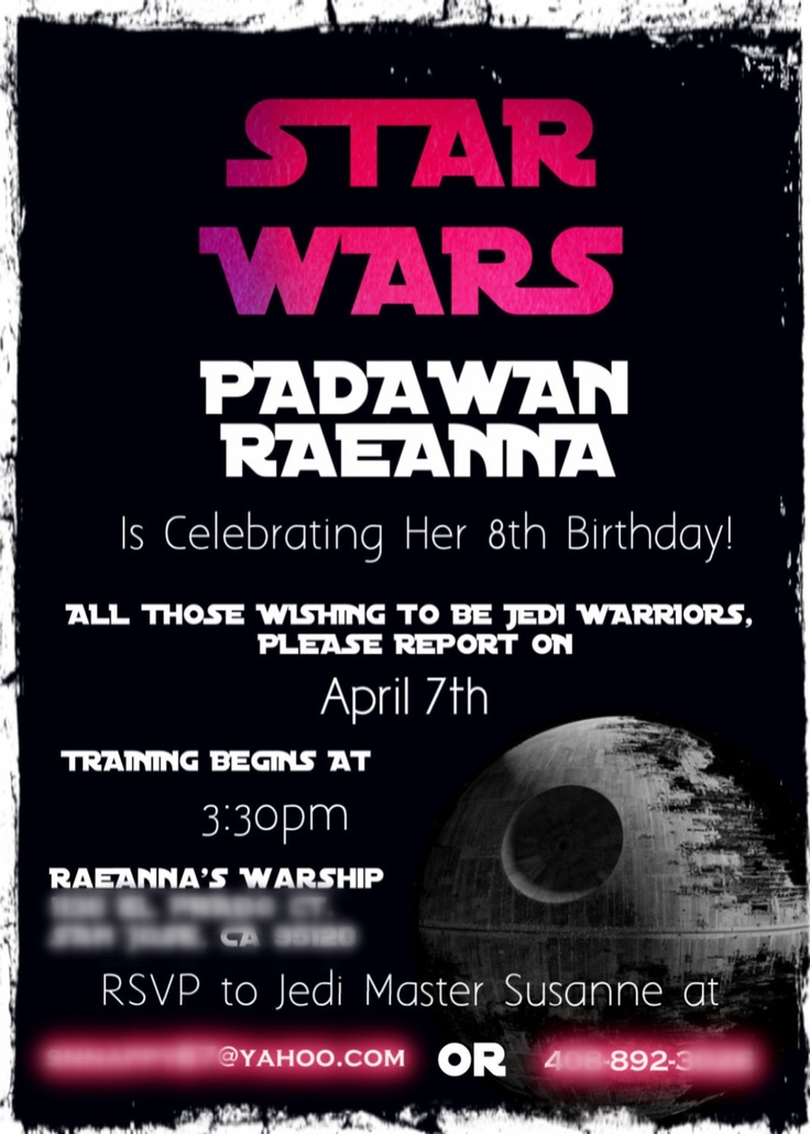 39 best images about paiges pink star wars Bday party – Star Wars Party Invitation