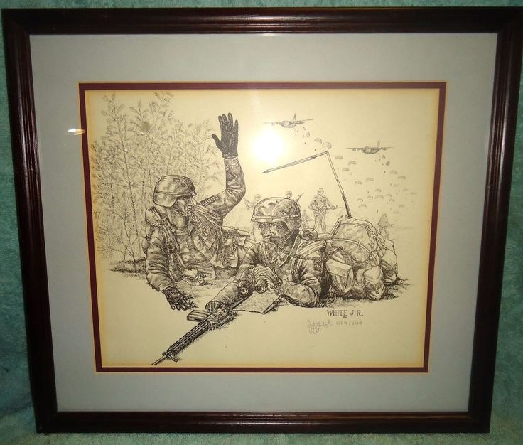 Framed Vietnam War Battlefield Soldiers Print J.R.White 1988 84 of 100 Signed