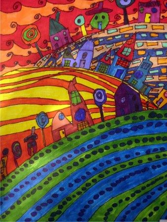 Image result for hundertwasser hilly landscape with line of wind-tattered trees like blanket hem along the skyline