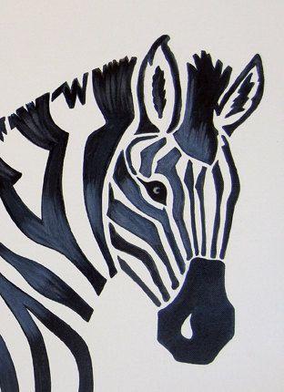 Zebra Safari Nursery Art Zoo Animal. Jungle Theme Kids / Baby Room Decor (painting not a print)