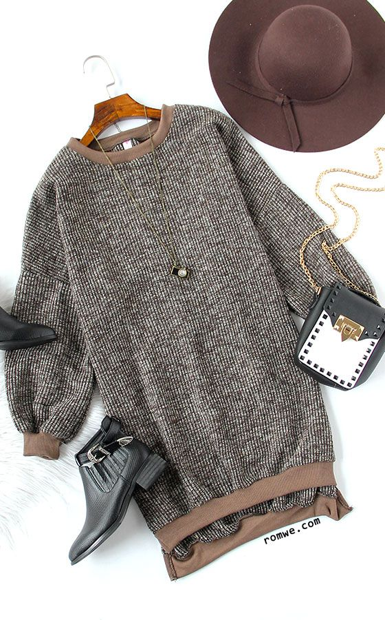 Fall Chic- Khaki Split Side High Low Sweatshirt Dress - SAVE 60% OFF ON FIRST ORDER