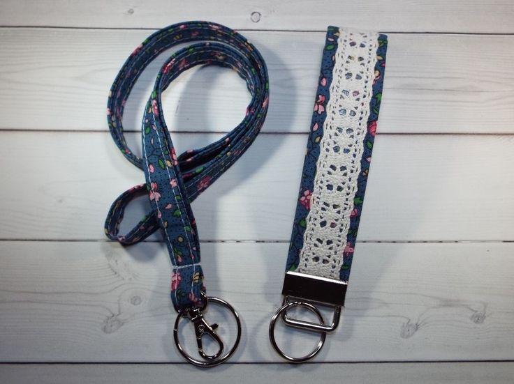 Skinny Lanyard Id Holder Key fob set badge holder tiny flowers mini blue #Handmade  preppy / fabric / cute / patterns / key chain / office, nurse, student id, badge / key leash / gifts / key ring / design your own / add a colorful tassel