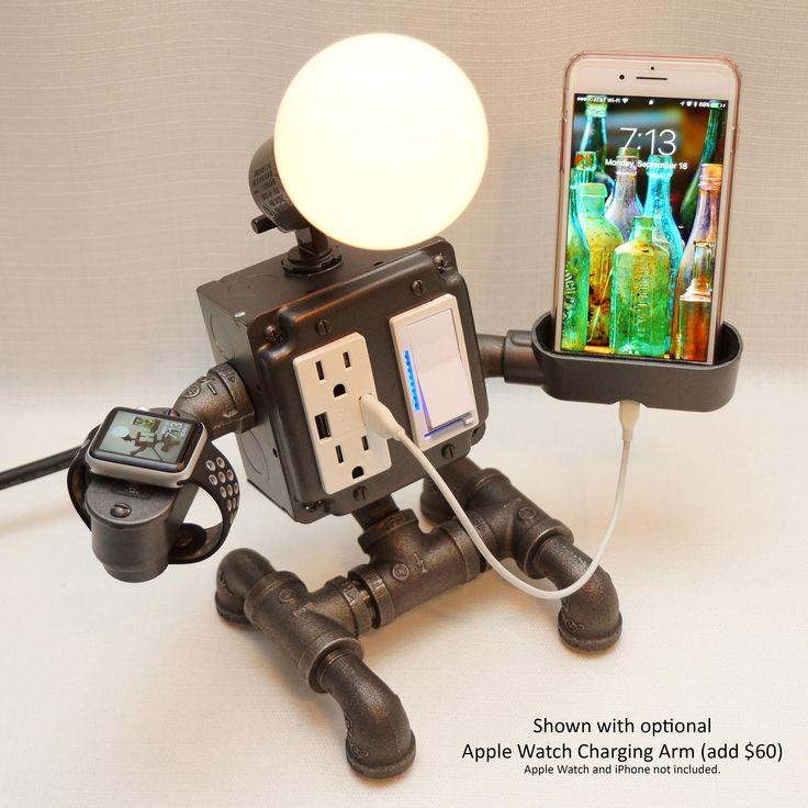Esta lámpara es un lindo pero muy funcionales a cualquier sitio. Ideal para tu mesita de noche, esta características de la lámpara dos a tierra, tomas de CA a prueba de manipulaciones, dos puertos de carga USB alta potencia, un atenuador deslizante de rango completo con azul del