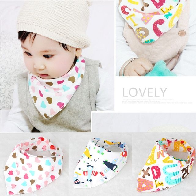 Infant Kids Baby Unisex Feeding Saliva Towel Dribble Triangle Bandana Bibs