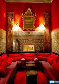 Ermagerd! In the nook! But I have lots of windows in there.  moroccan red - Google Search