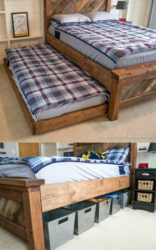 DIY farmhouse bed with trundle and storage Infarrantly Creative