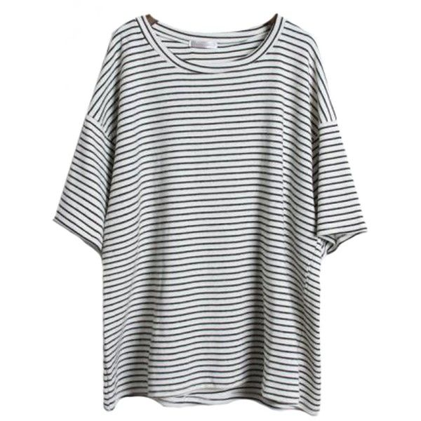 Sheinside Women's Grey Short Sleeve Striped Loose T-Shirt ($15) ❤ liked on Polyvore featuring tops, t-shirts, shirts, clothes - tops, stripe tee, gray t shirt, short sleeve t shirts, stripe t shirt and short sleeve tees