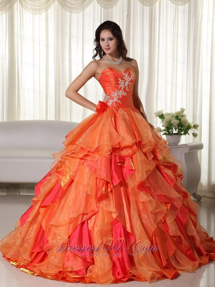 32 best tangerine gowns images on Pinterest | Quinceanera dresses ...