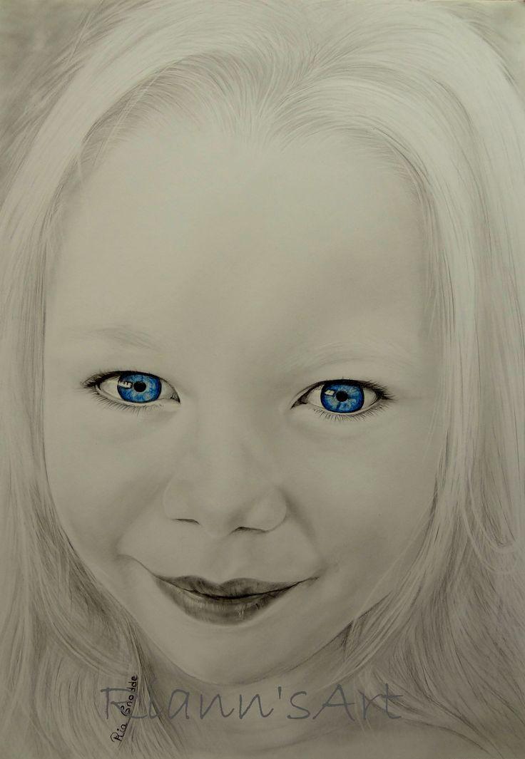 Portret van Rilana  Grafiet en kleurpotloden op een A3 tekenvel.