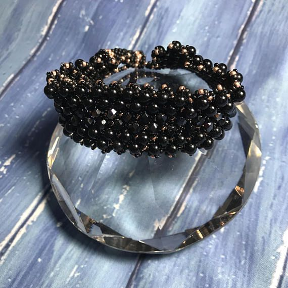 Luxury black agate beaded cuff bracelet: seed bead bracelet